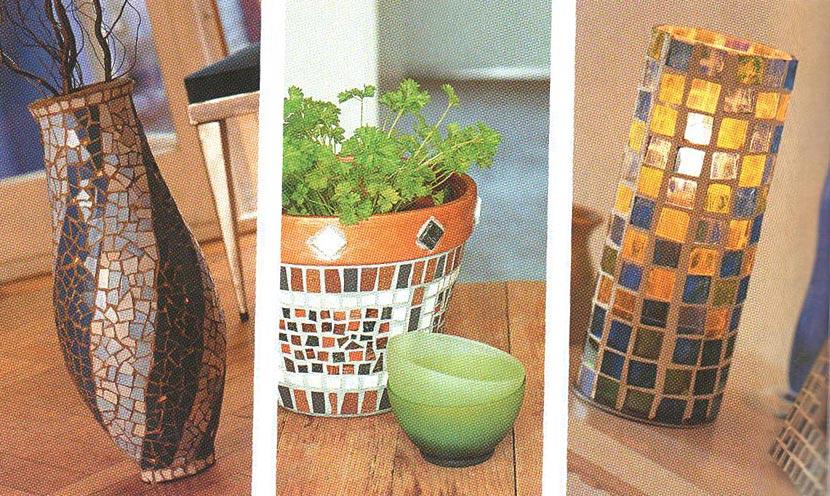 Изделия для дома и сада из мозайки